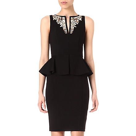 TED BAKER Embellished neckline dress (Black