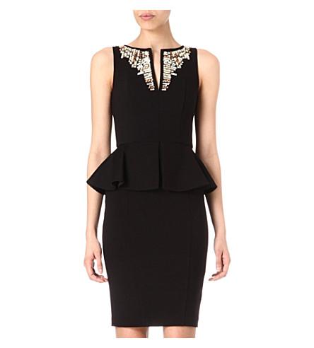 TED BAKER Fernola embellished neckline dress (Black