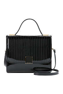 TED BAKER Quilted patent leather top handle bag