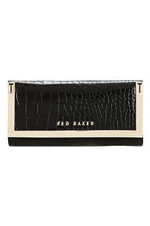 TED BAKER Crocadile-effect metallic corner purse