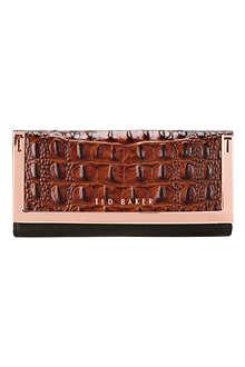 TED BAKER Crocadile-effect metallic corner purse