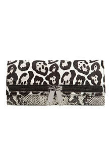 TED BAKER Lione exotic-print zip clutch
