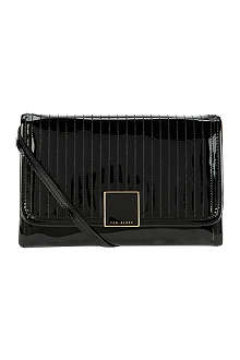 TED BAKER Quilted patent lather crossbody bag
