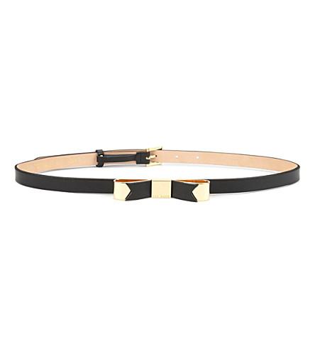 TED BAKER Bowsa skinny leather bow belt (Black