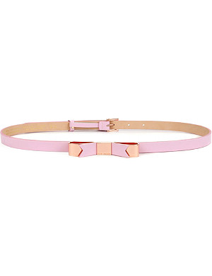TED BAKER Bowsa skinny leather bow belt