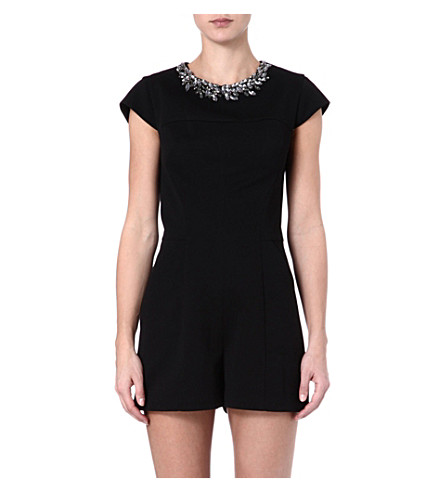 TED BAKER Evelin embellished-neckline playsuit (Black