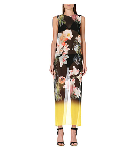 TED BAKER Opulant Bloom floral-print cover-up (Black