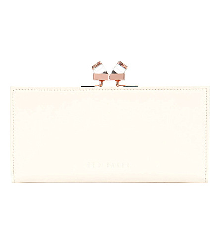 TED BAKER Wenny jewel-embellished leather purse (Natural