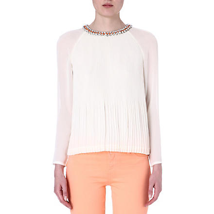 TED BAKER Lovina beaded neckline top (Cream