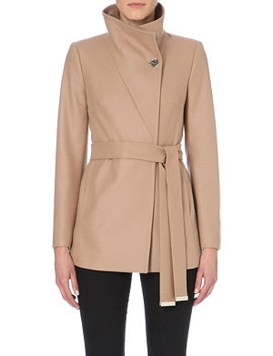 TED BAKER Short wool and cashmere blend wrap coat