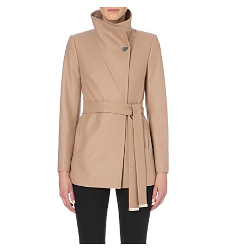 TED BAKER Short wool and cashmere blend wrap coat (Taupe