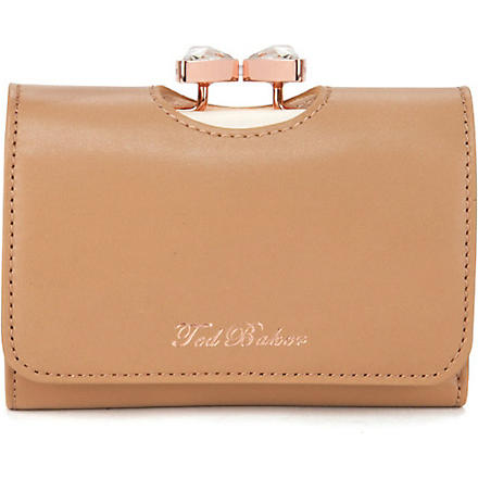TED BAKER Caaro bow small leather purse (Mink