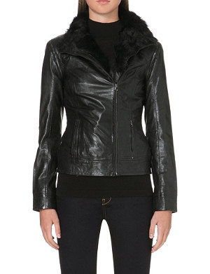 TED BAKER Detachable sleeves leather jacket