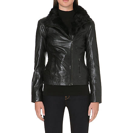 TED BAKER Detachable sleeves leather jacket (Black