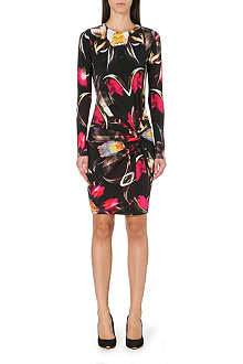 TED BAKER Pleated petal print dress