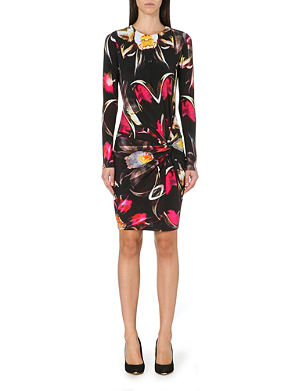 TED BAKER Pleated petal print dress
