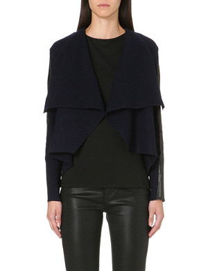 TED BAKER Gaeton leather-trim cardigan