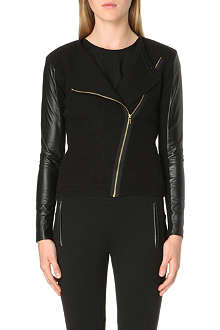 TED BAKER Rhya leather-sleeve wool biker jacket