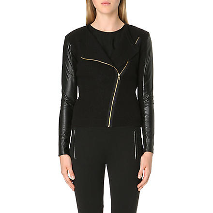 TED BAKER Rhya leather-sleeve wool biker jacket (Black