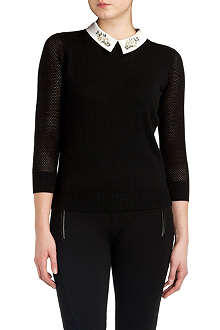 TED BAKER Helane embellished-collar jumper