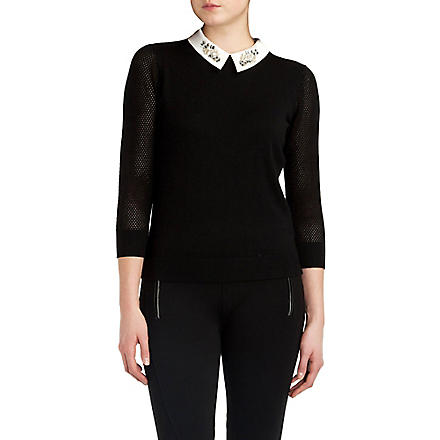 TED BAKER Helane embellished collar jumper (Black