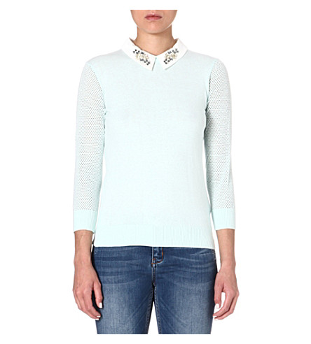 TED BAKER Helane embellished collar jumper (Mint