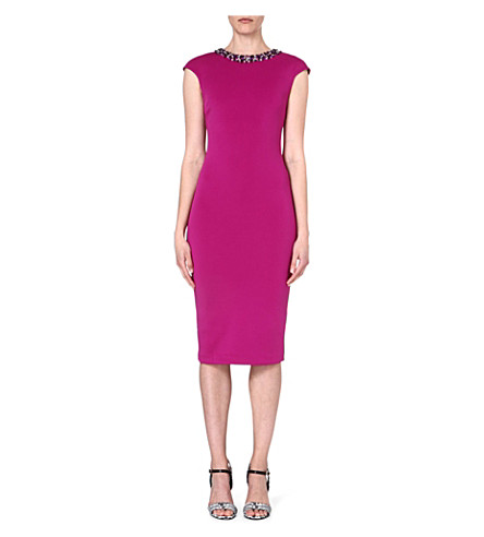 TED BAKER Embellished midi dress (Fuchsia