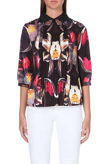 TED BAKER Pleated petals print top