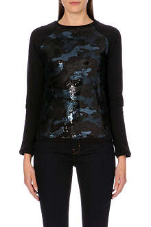 TED BAKER Bethh camouflage-sequinned sweatshirt