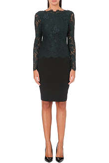 TED BAKER Long sleeved lace panel dress