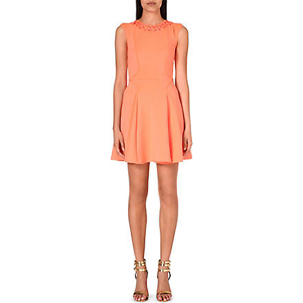 TED BAKER Embellished skater dress (Orange