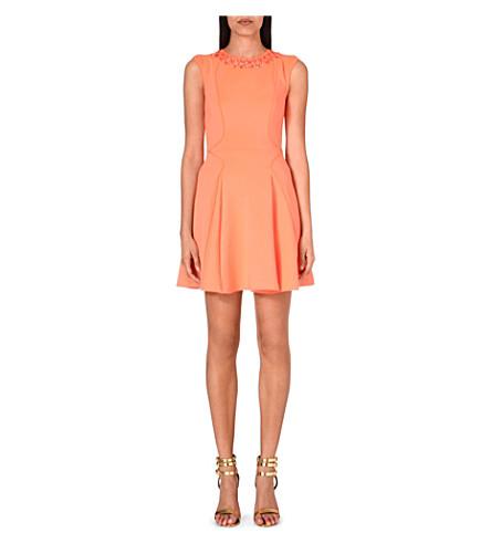 TED BAKER Embellished skater dress (Orange