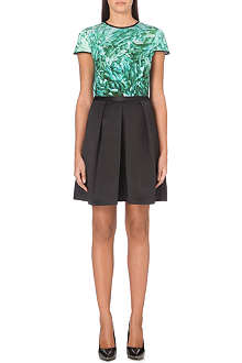 TED BAKER Hhanah green rossette print dress