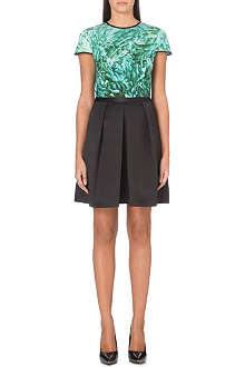 TED BAKER Hhanah green rossette print dress