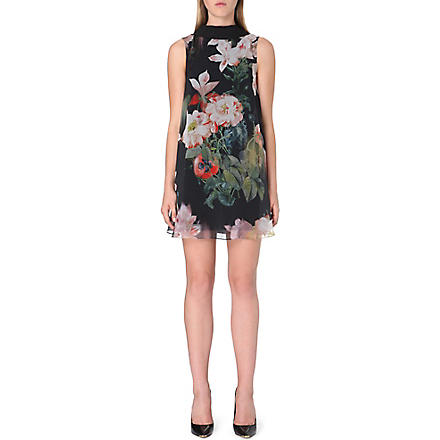TED BAKER Opulant Bloom floral-print tunic dress (Black