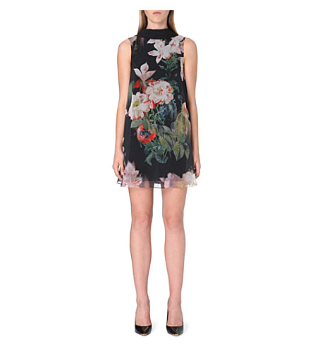 TED BAKER Opulant Bloom floral-print tunic dress (Black