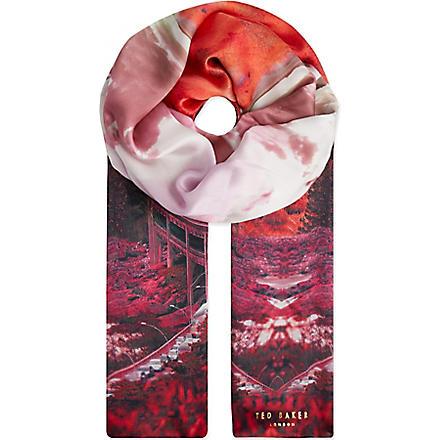 TED BAKER Saanvi Road To Nowhere silk scarf (Orange