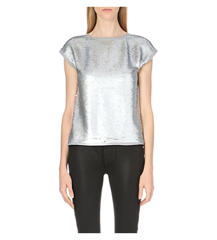 TED BAKER Seqeen sequined top (Silver