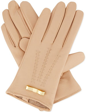 TED BAKER Bow detail leather gloves