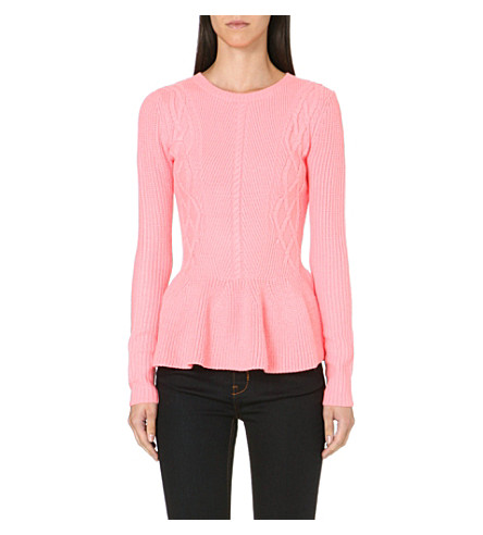 TED BAKER Peplum trim knitted sweater (Coral