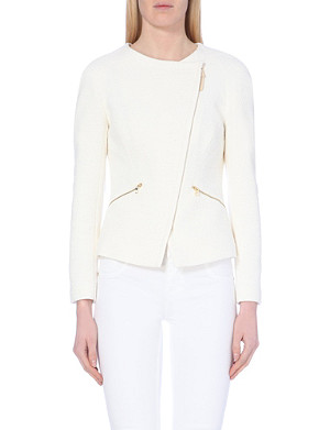 TED BAKER Zipped front cotton-blend biker jacket