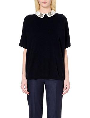 TED BAKER Easy embellished-collar cashmere jumper