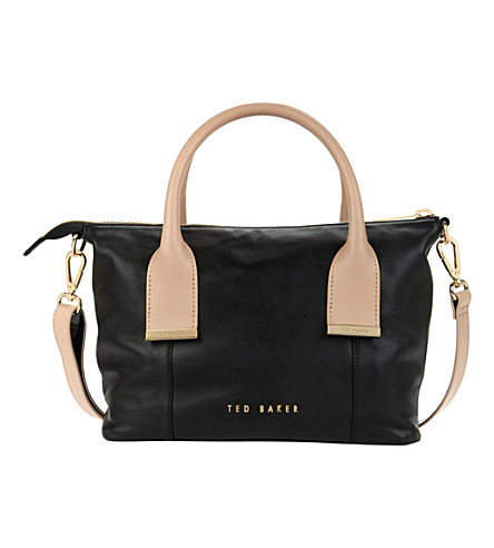 TED BAKER Amelia leather mini tote bag (Black
