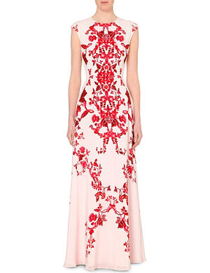 TED BAKER Nelum China red maxi dress
