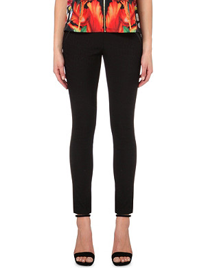 TED BAKER Ashonia crocodile-embossed woven leggings