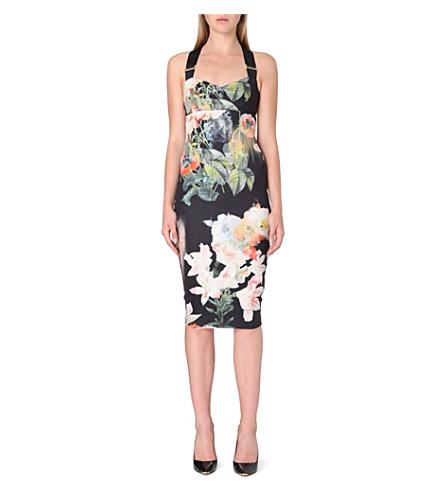TED BAKER Opulent Bloom floral print dress (Black
