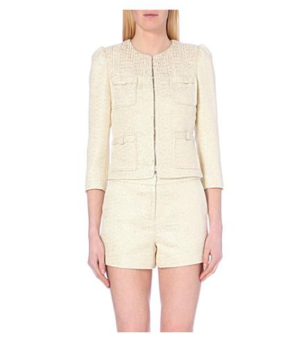 TED BAKER Metallic cropped tweed jacket (Gold