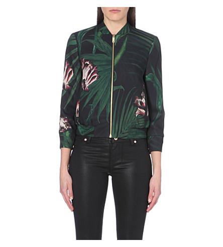 TED BAKER Palm floral bomber jacket (Black