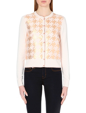 TED BAKER Houndstooth knitted cardigan