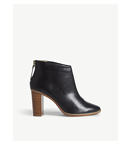 TED BAKER Leather heeled ankle boots (Black